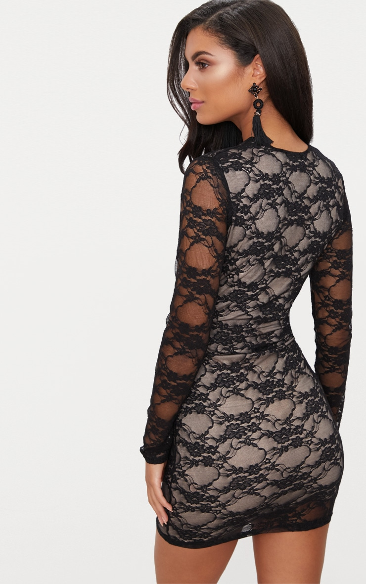 Black Lace Long Sleeve Plunge Bodycon Dress  2