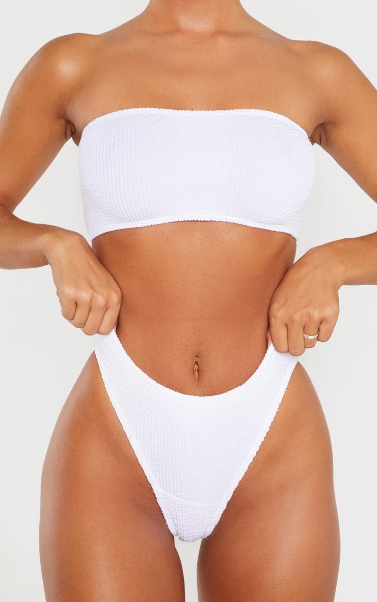 White Crinkle Thong Bikini Bottom 6