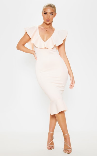 Blush Plunge Frill Detail Scuba Midi Dress