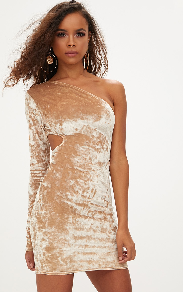 Petite Champagne Crushed Velvet One Shoulder Cut Out Dress 1