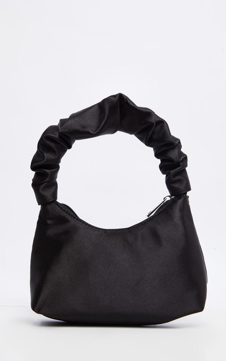 Black Satin Ruffle Handle Shoulder Bag 1