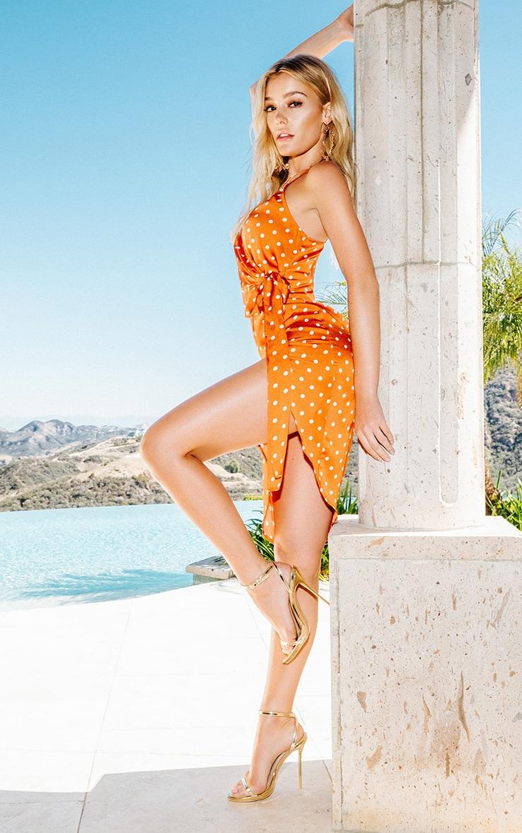 Burnt Orange Polka Dot Wrap Over Tie Detail Midi Dress