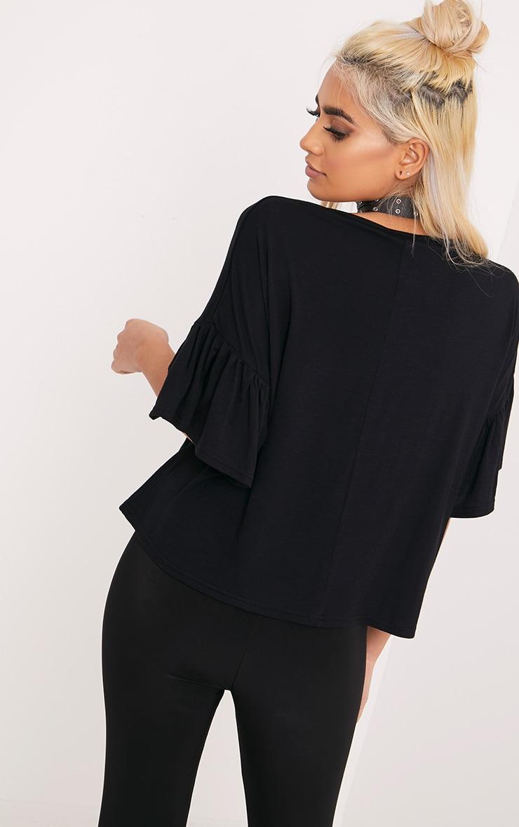 Adnie Black Frill Sleeve T Shirt  2