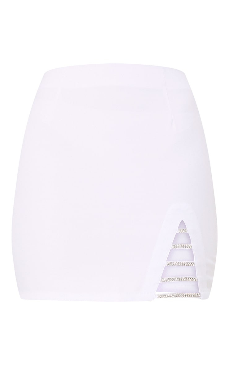 Calista White Diamond Split Mini Skirt 3