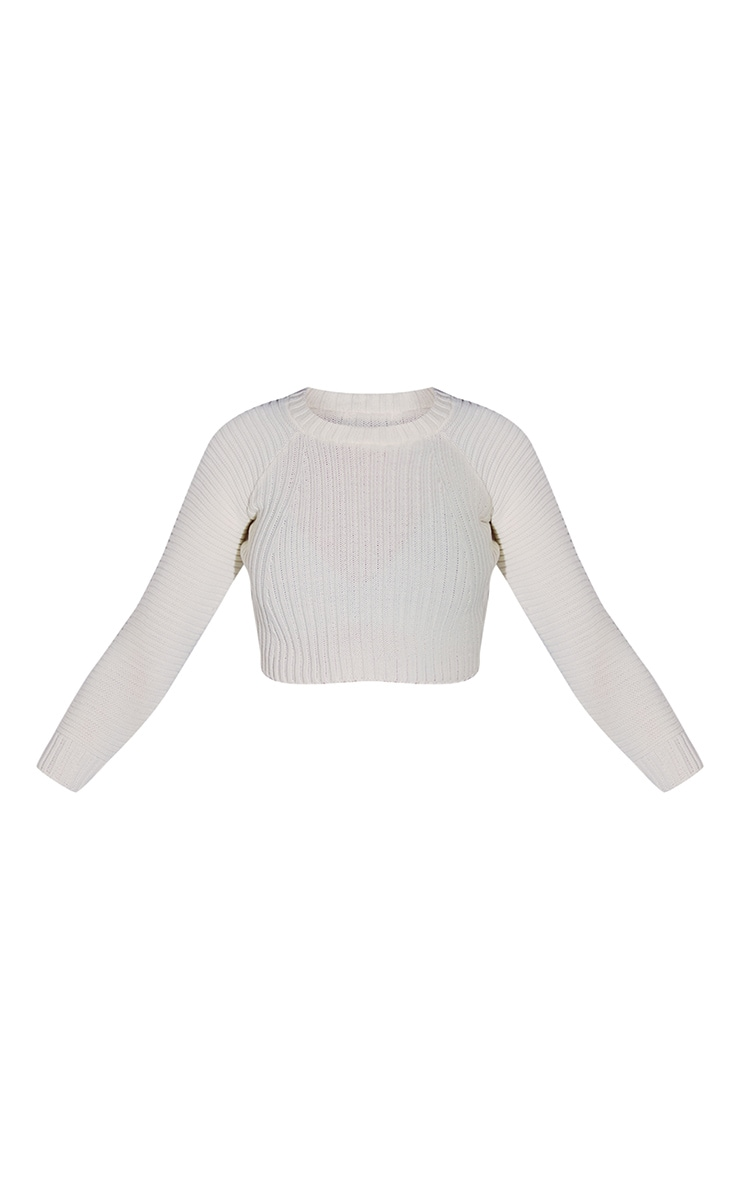 White Cropped Rib Knit Sweater 5