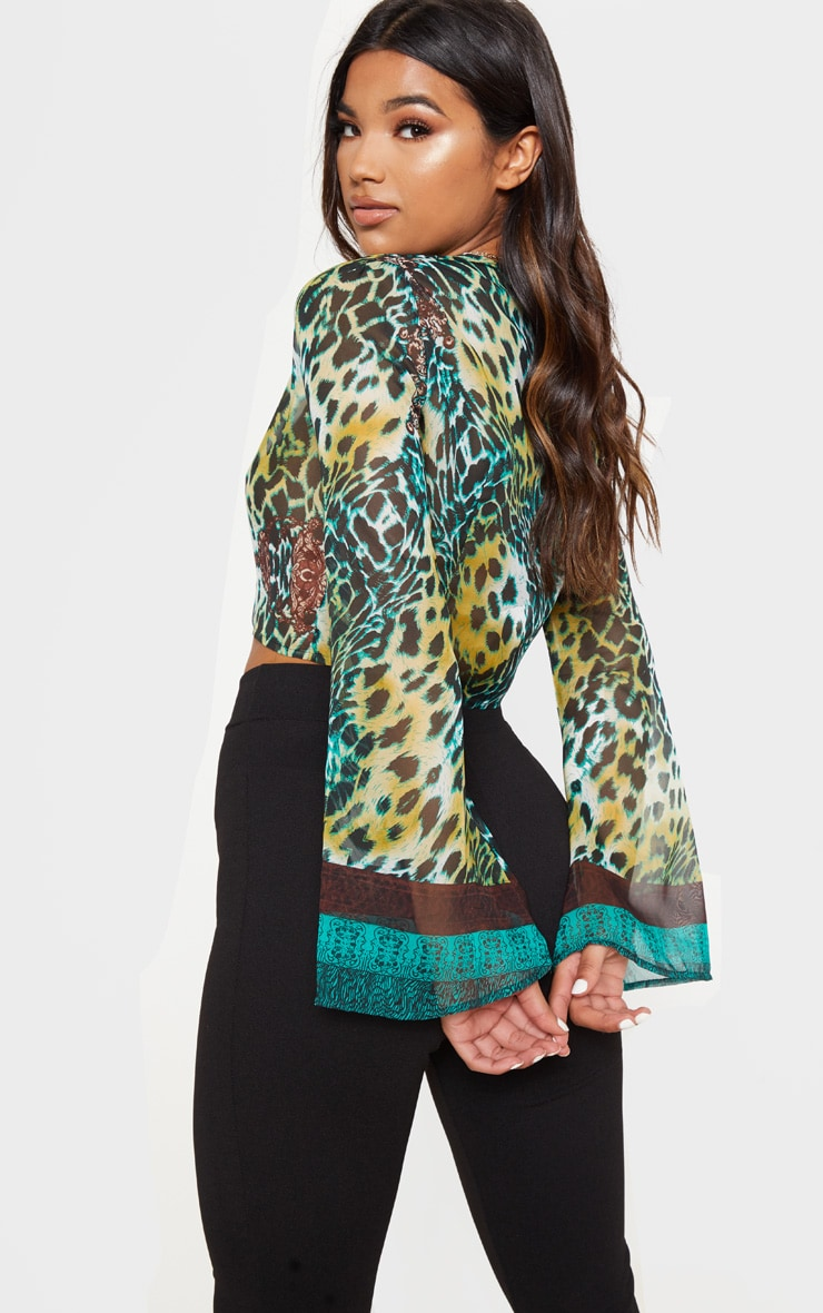 Arleena Green Sheer Print Knot Front Flare Sleeve Blouse 2