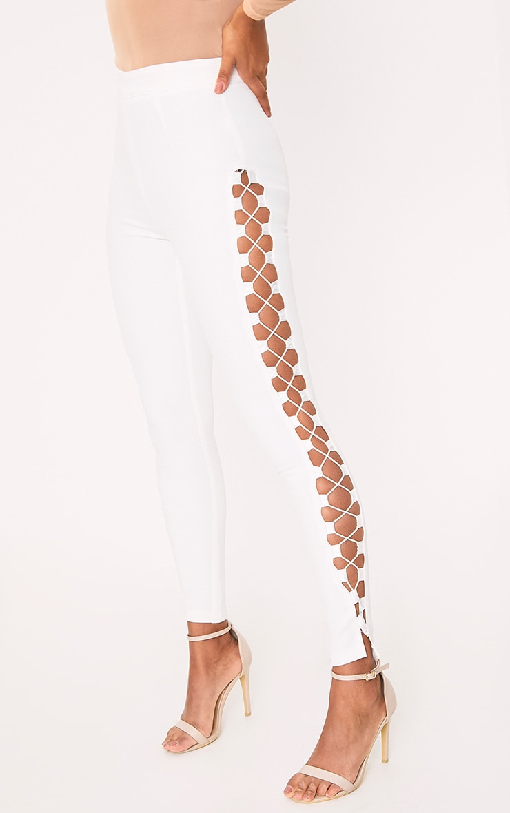 Anetta White Lace Up Side Skinny Trousers 5