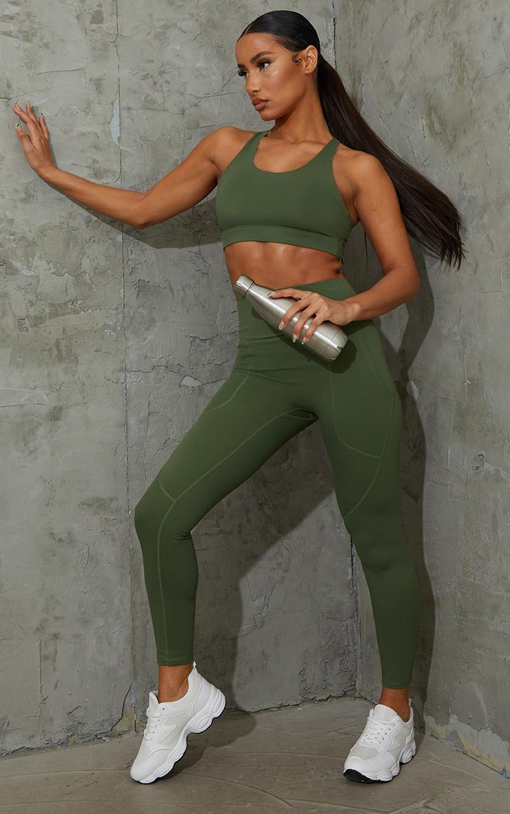 Khaki Sculpt Luxe Pocket Gym Legging 1