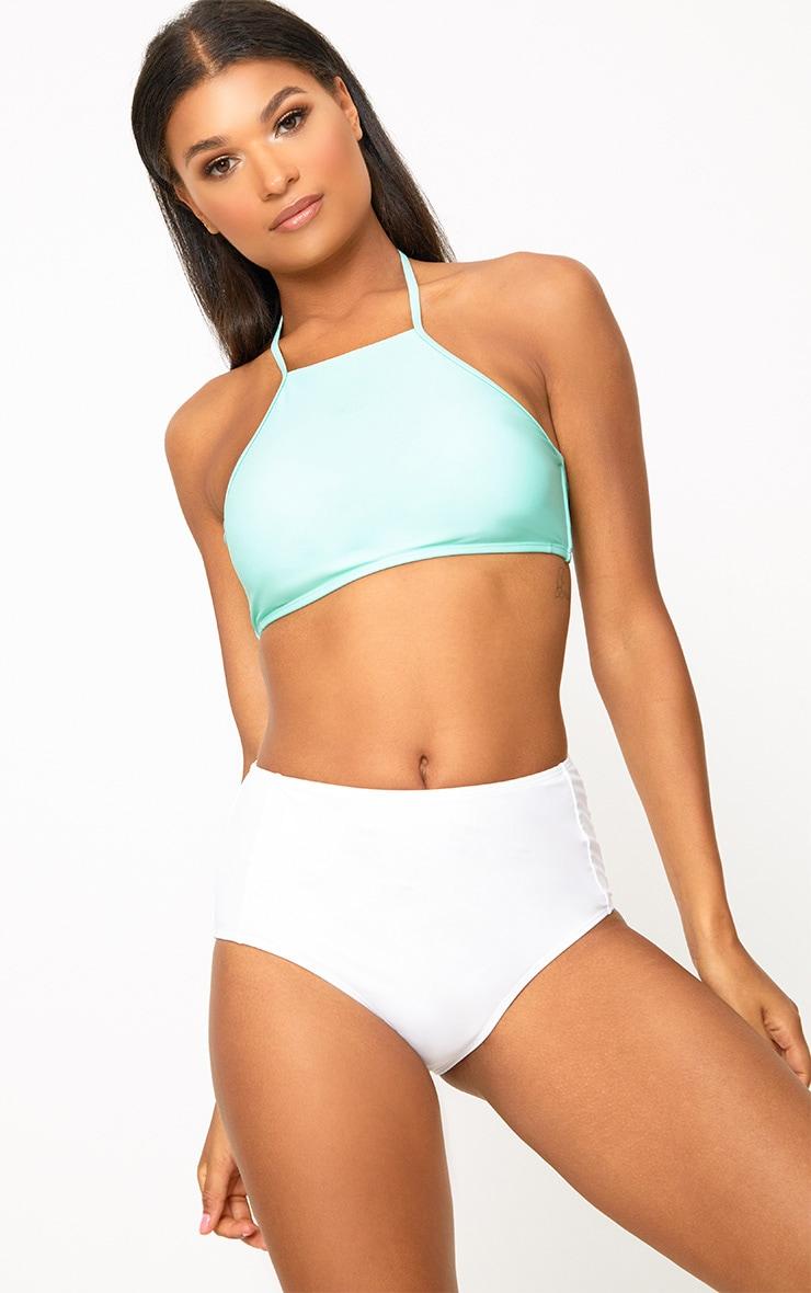 Mix and Match Mint 90s Neck Bikini Top  1