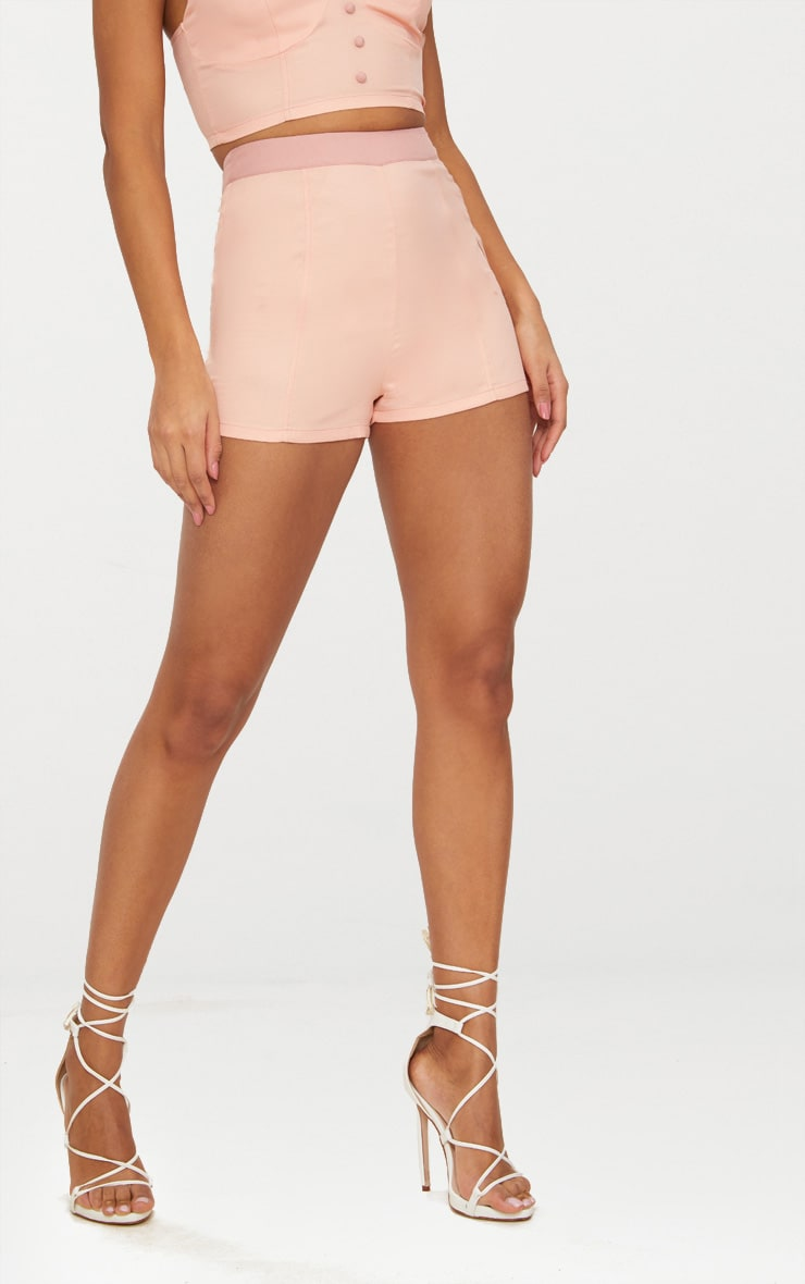 Dusty Pink Contrast Waist Band Formal Shorts  2