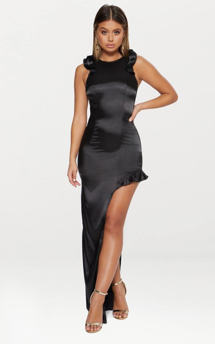 Black Satin Frill Shoulder Extreme Split Maxi Dress 1