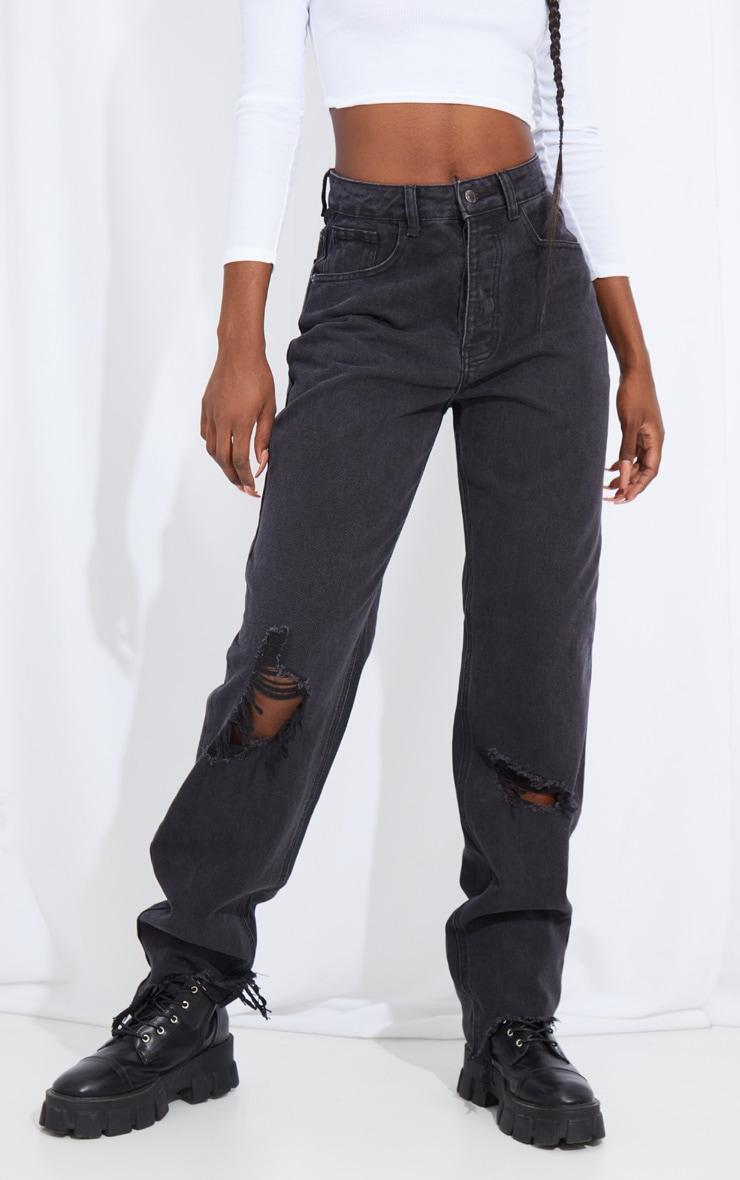 PRETTYLITTLETHING Tall Washed Black Distressed Hem Boyfriend Jeans 2