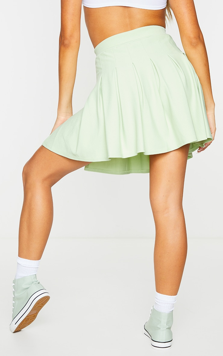 Sage Green Pleated Side Split Tennis Skirt 3