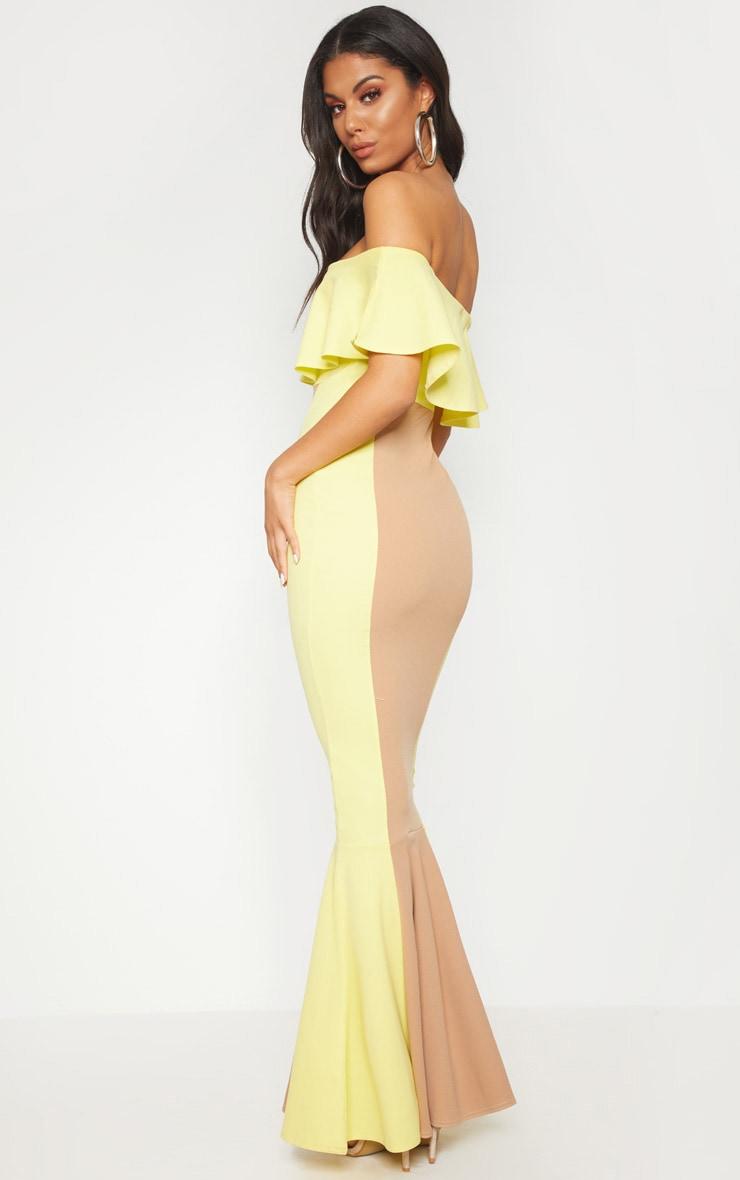 Yellow Bardot Panel Detail Contrast Fishtail Maxi Dress 2