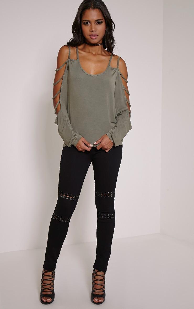 Leesa Khaki Strappy Sleeve Fit Top 4