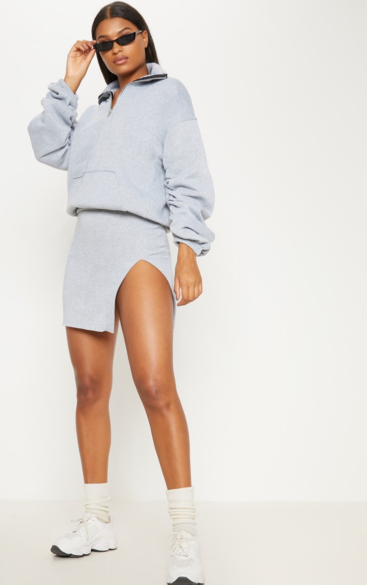 Grey Zip Oversized Ruched Sleeve Sweater 4
