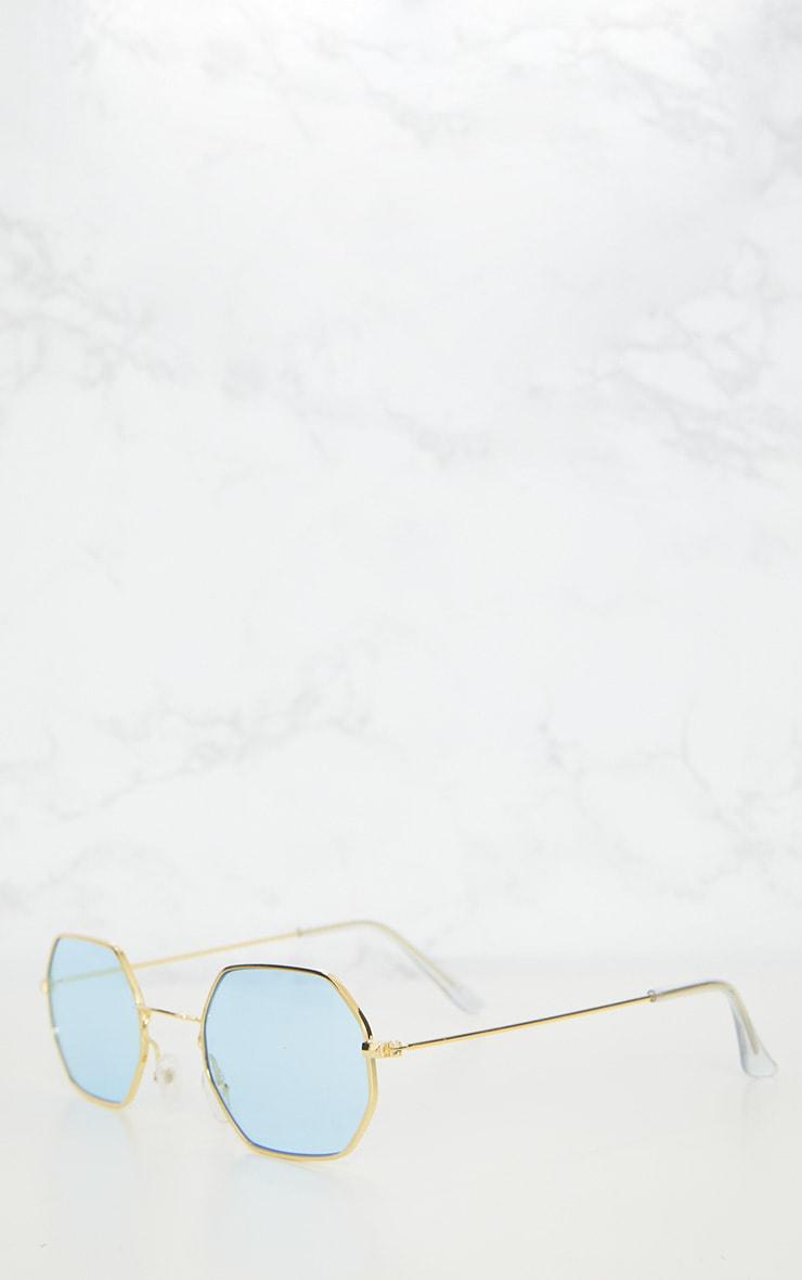 Blue Hexagon Retro Sunglasses 4