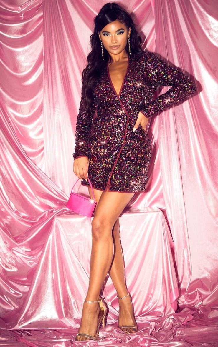 Burgundy Sequin Long Sleeve Blazer Dress 4