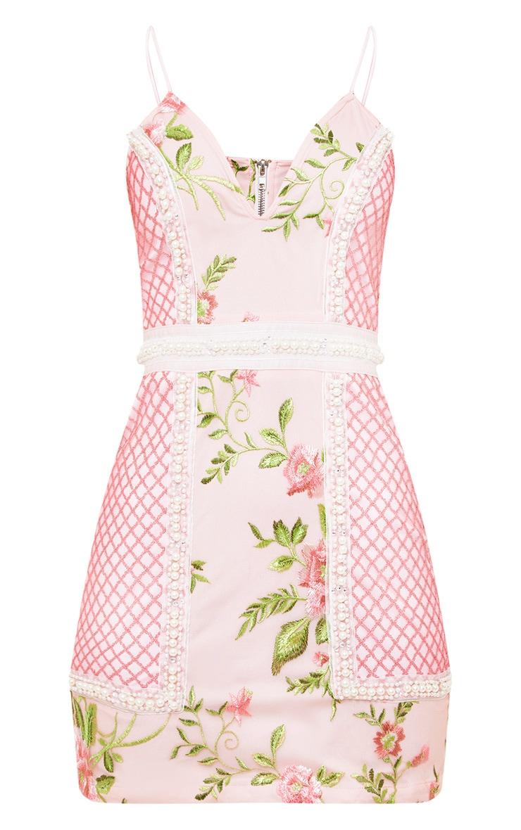 Premium Blush Embroidered Lace Bodycon Dress 4