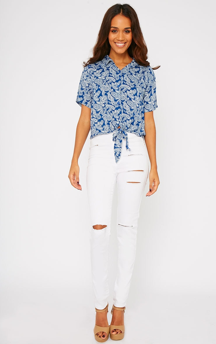Arizona Blue Paisley Tie Front Crop Shirt 3