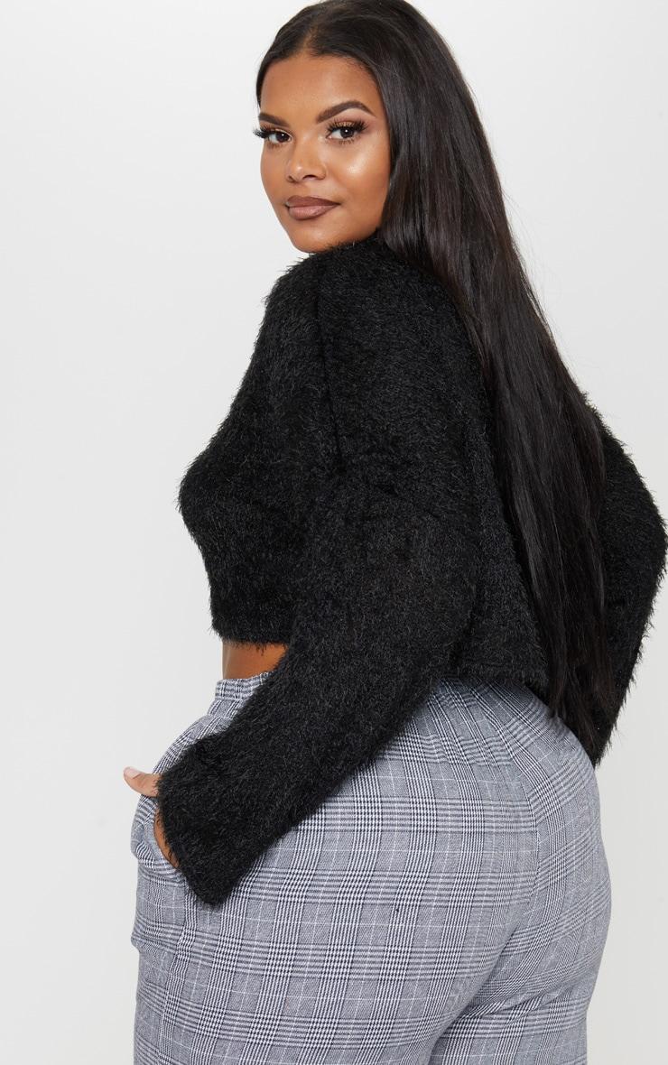 Plus Black Fluffy Knit Roll Neck Crop Sweater  2