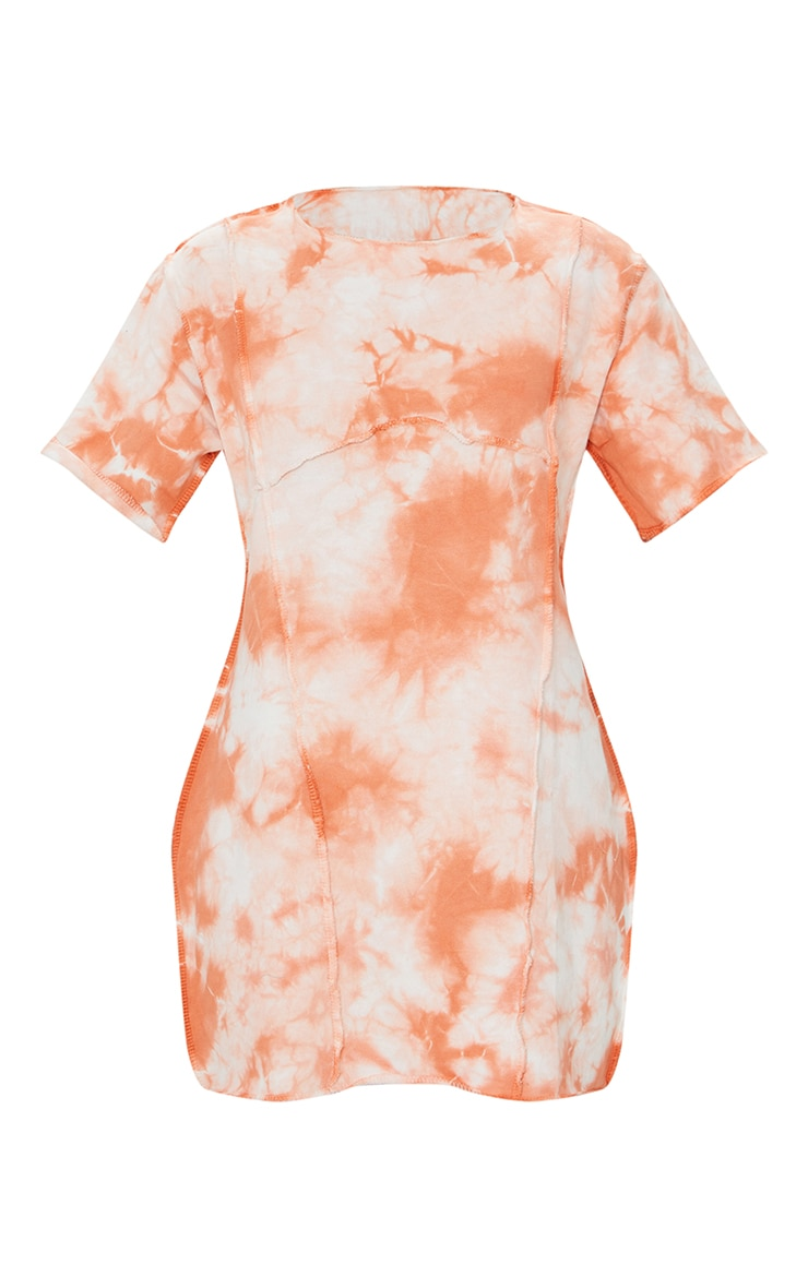 Orange Tie Dye Binding Detail Short Sleeve Sweat T Shirt Dress 5