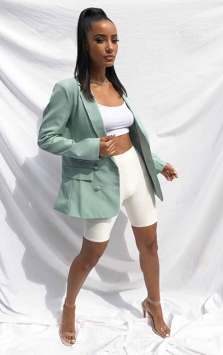 Sage Double Breasted Pocket Detail Woven Blazer 3