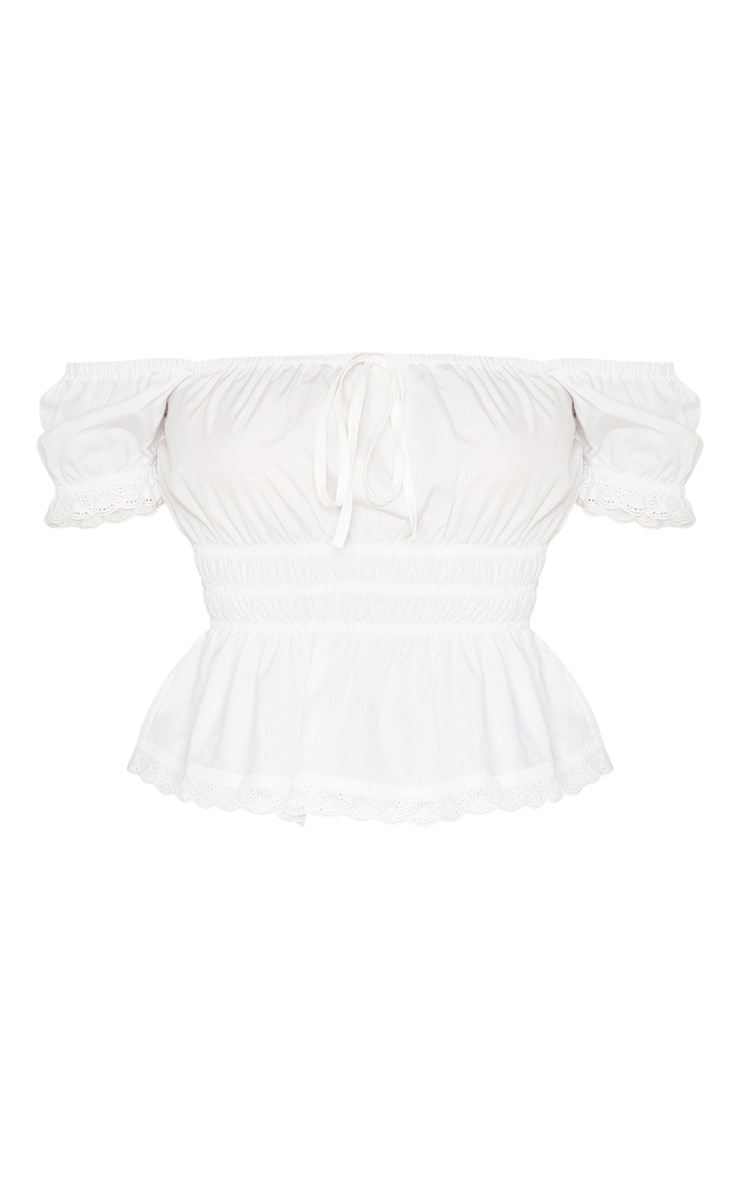White Ruched Waist Puff Short Sleeve Crop Top 3
