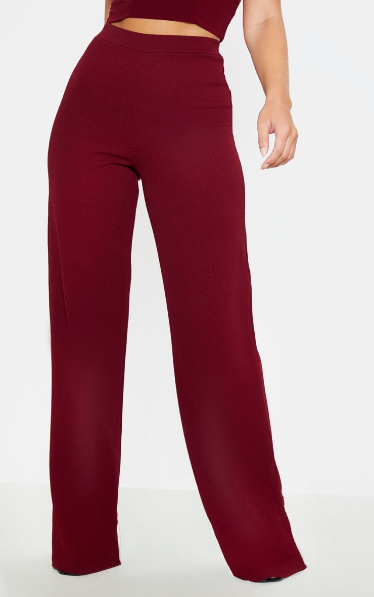 Burgundy Wide Leg Pants  2