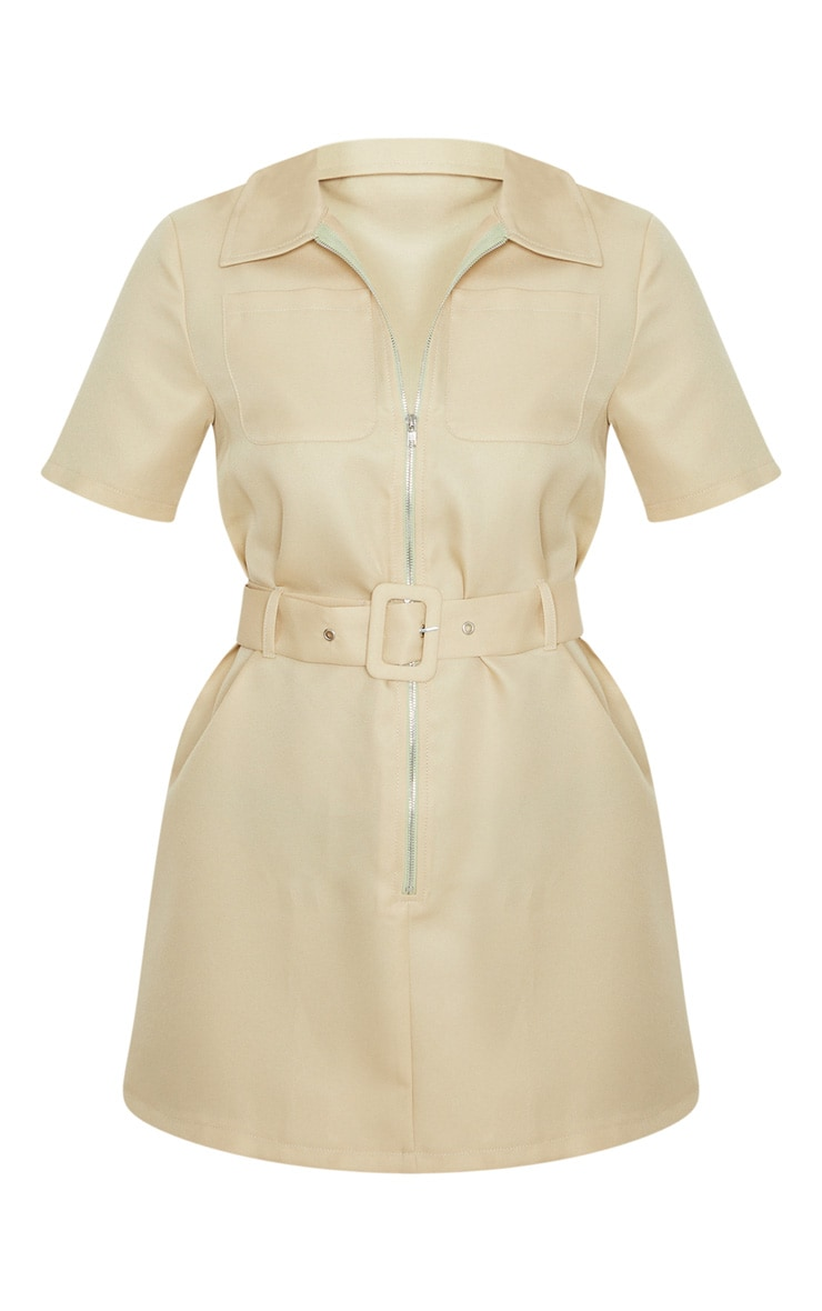 Petite Stone Zip Detail Belted Utility Dress 3