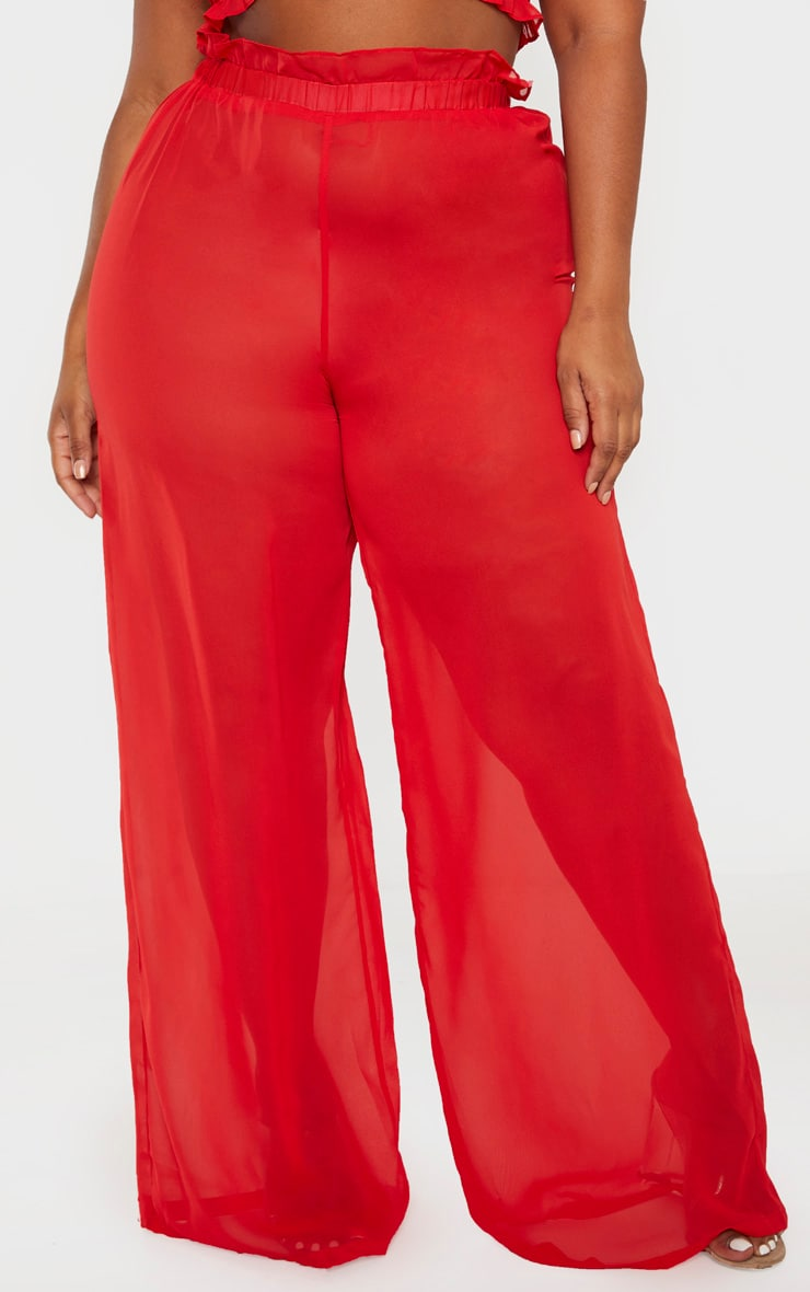 Plus Red Sheer Chiffon Floral Ruched Waist Wide Leg Pants 2