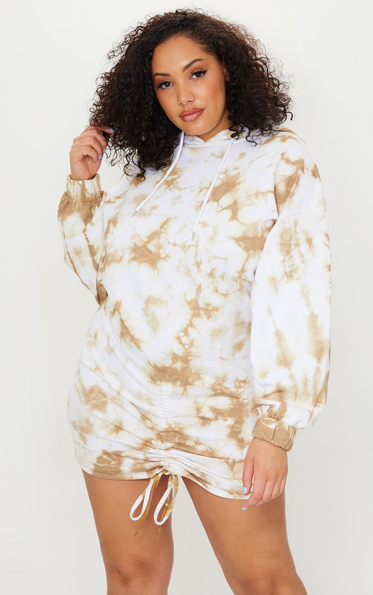 Plus Stone Tie Dye Ruched Hooded Sweat Dress 3