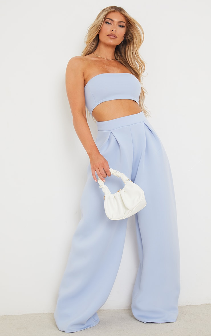 Blue Bonded Scuba Pleated Extreme Wide Leg Trousers image 1