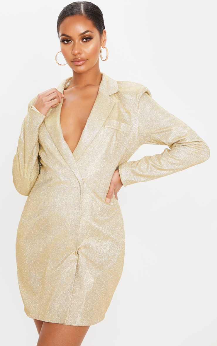Gold Textured Glitter Blazer Dress 1