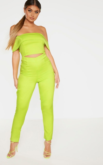 Lime Bardot Cut Out Straight Leg Jumpsuit