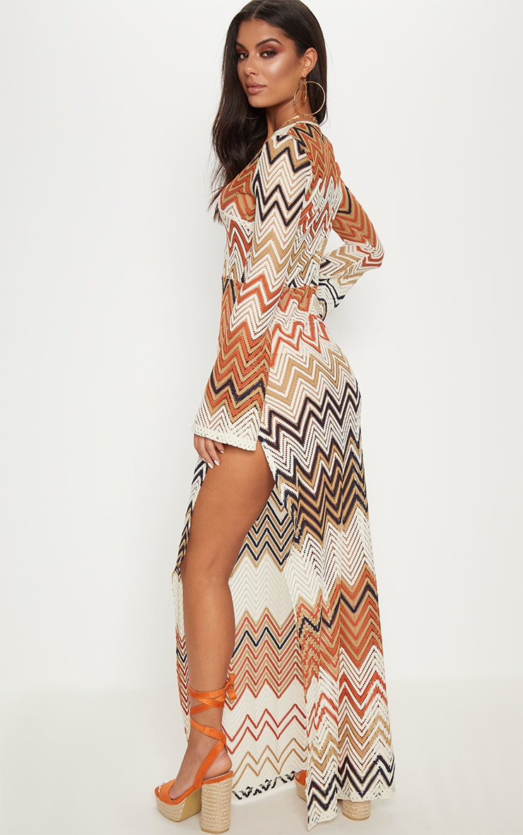 Burnt Orange Chevron Print Lace Maxi Dress 3