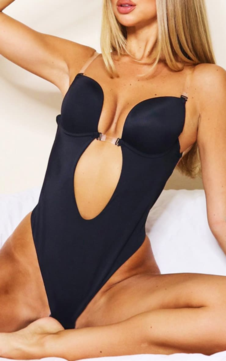 Black Shapewear Plunge Bodysuit 4