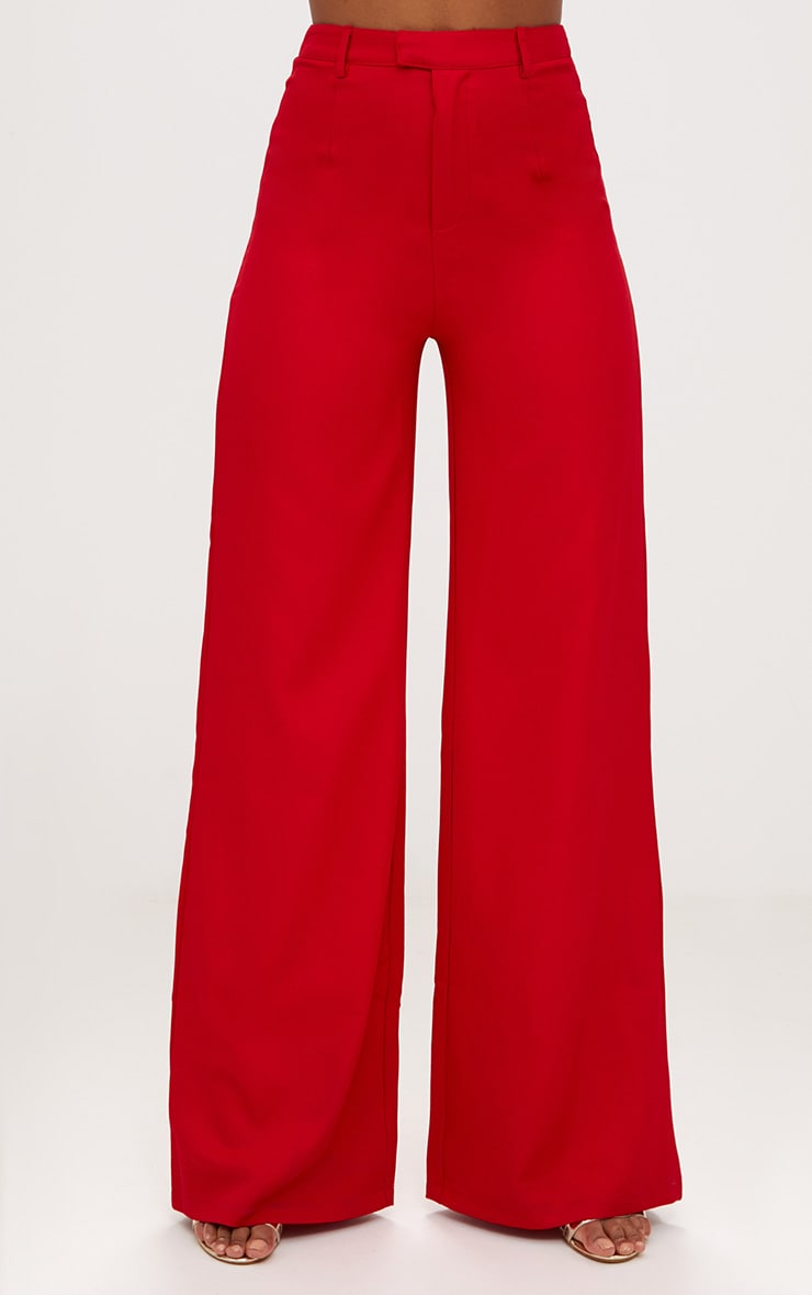 Red Wide Leg Crepe Pants 2