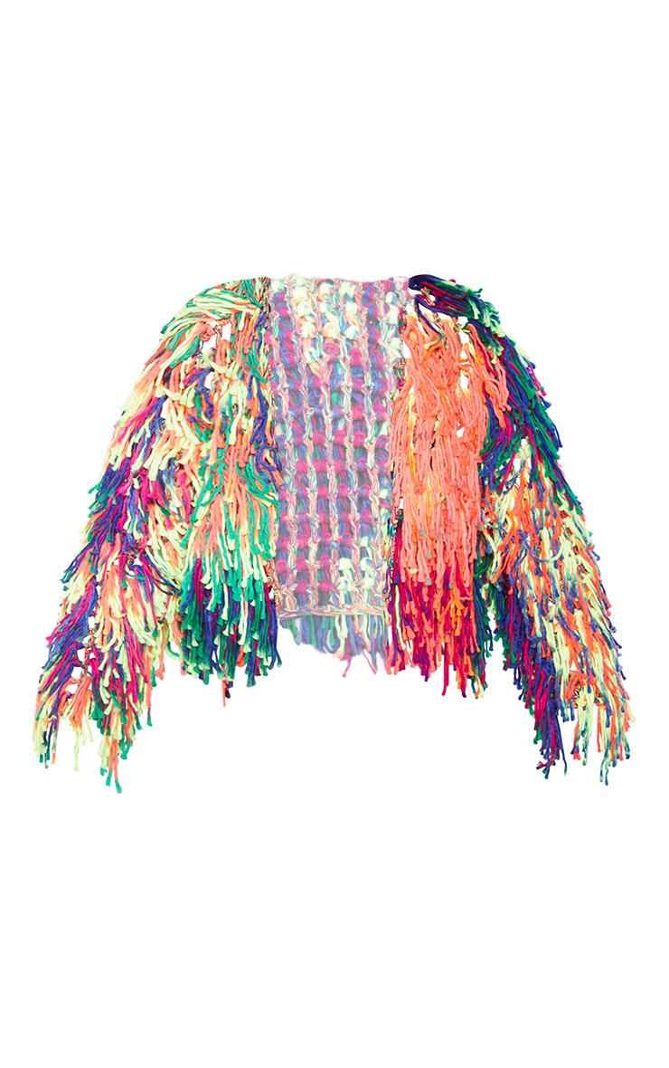 Multi Coloured Shaggy Knitted Cardigan  3