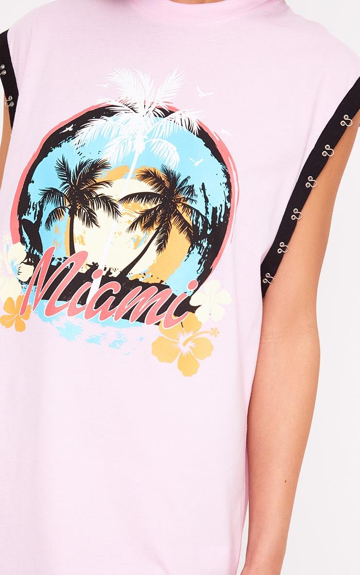 Baby Pink Miami Hook & Eye Printed T Shirt Dress 5