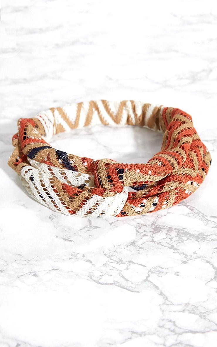 Orange Chevron Crochet Headband 3