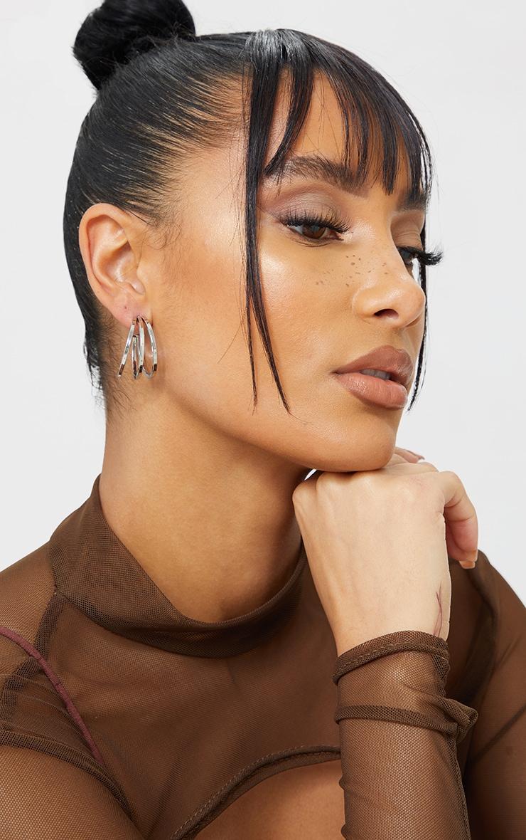 Silver Double Cut Out Hoop Earrings 1