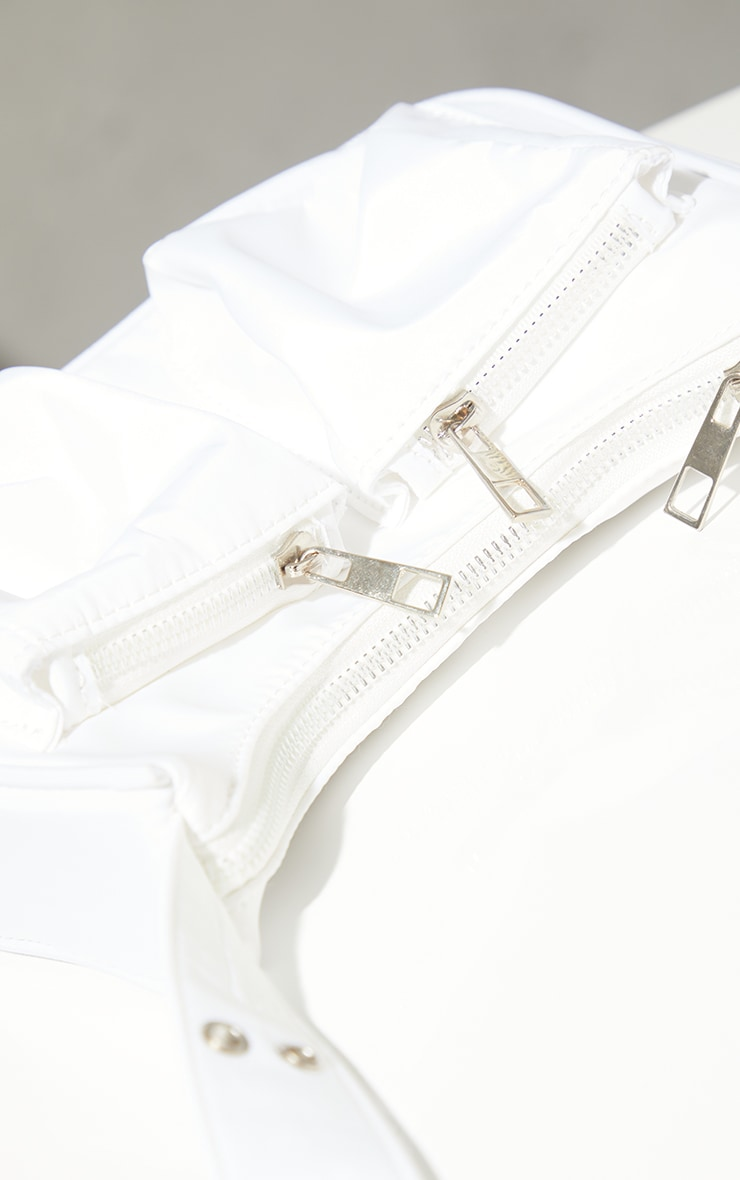 White Nylon Multi Eyelet Strap Cross Body Bag 4
