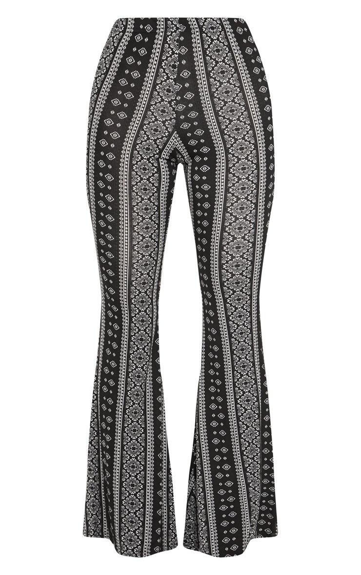 Black Stripe Jersey Printed Flare Trouser 3