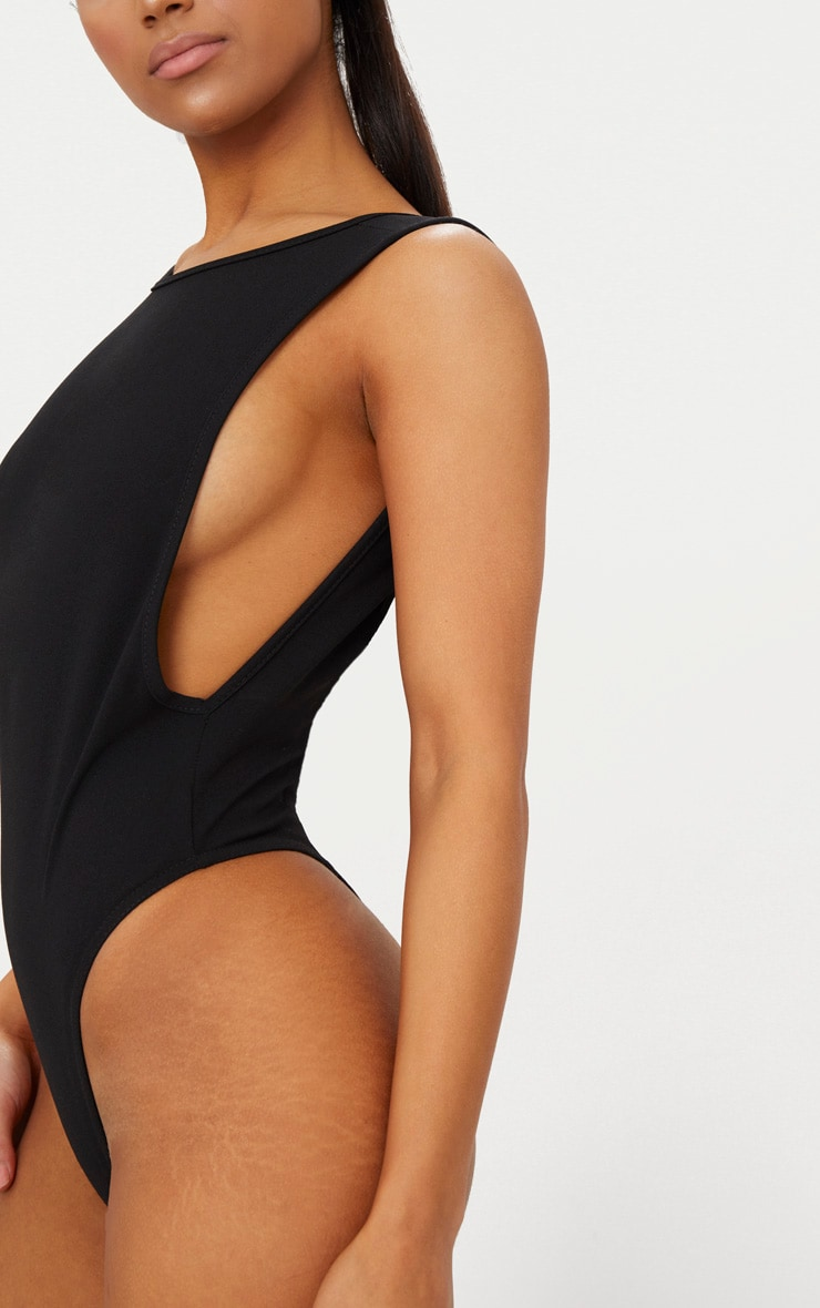 Black Crepe Side Boob Thong Bodysuit  6
