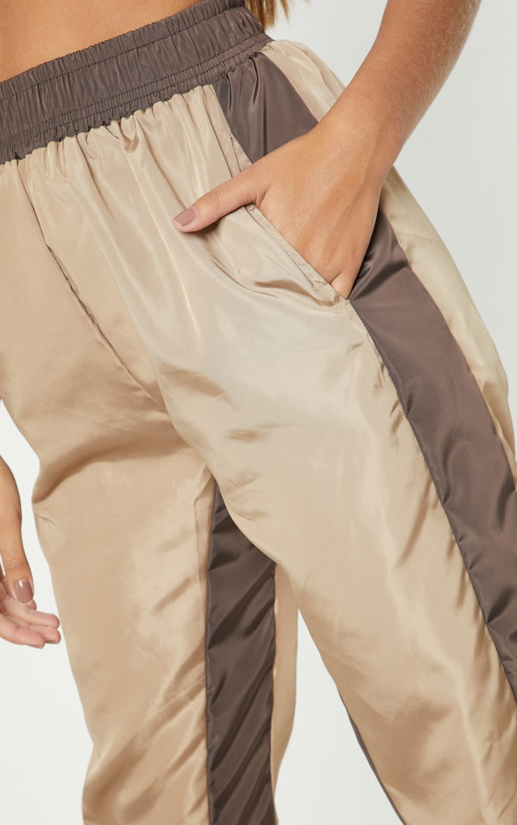 Taupe Contrast Panel Shell Jogger 5