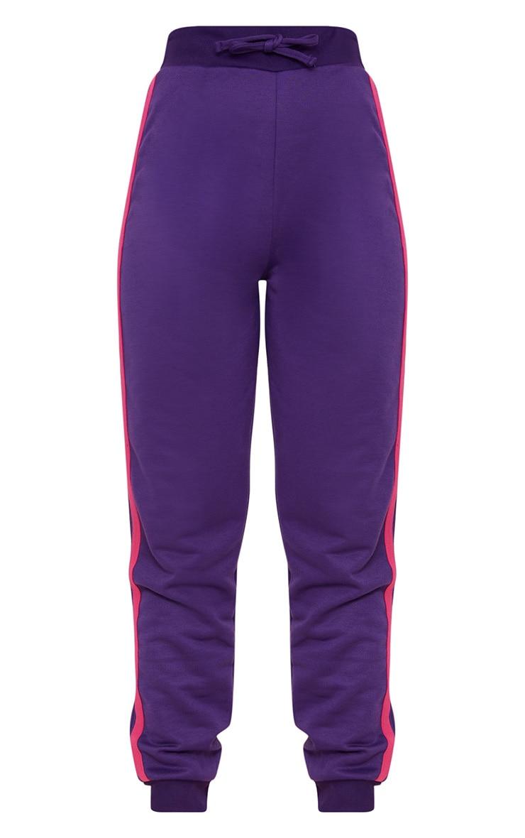 Purple Contrast Stripe Joggers  3