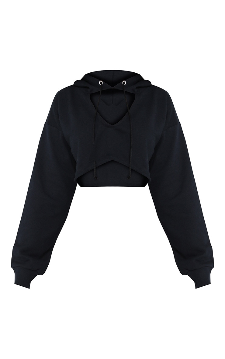 Shape Black Crop Open Neck Hoodie 3