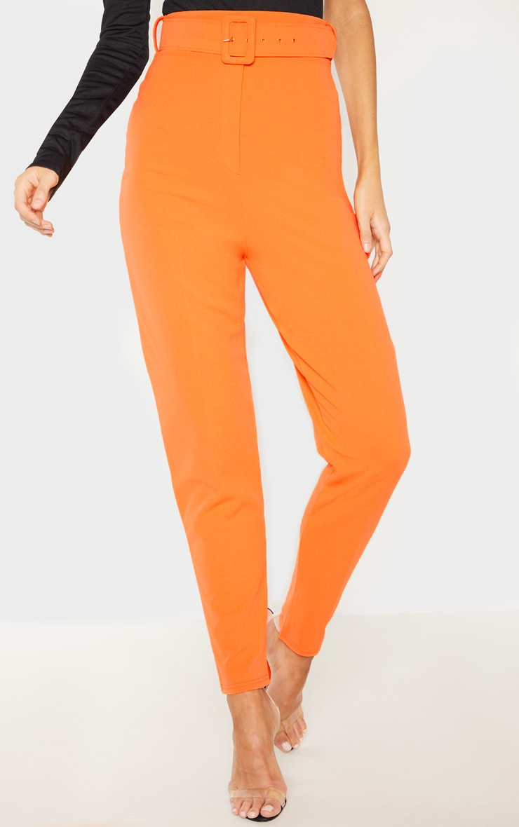 Tall Bright Orange High Waisted Belt Detail Trouser  2