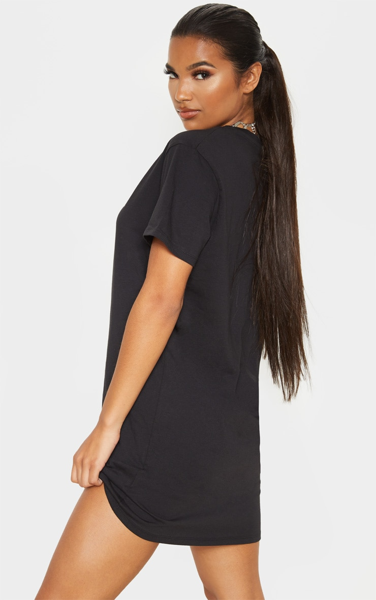 PRETTYLITTLETHING Black Lightening Slogan T Shirt Dress 2